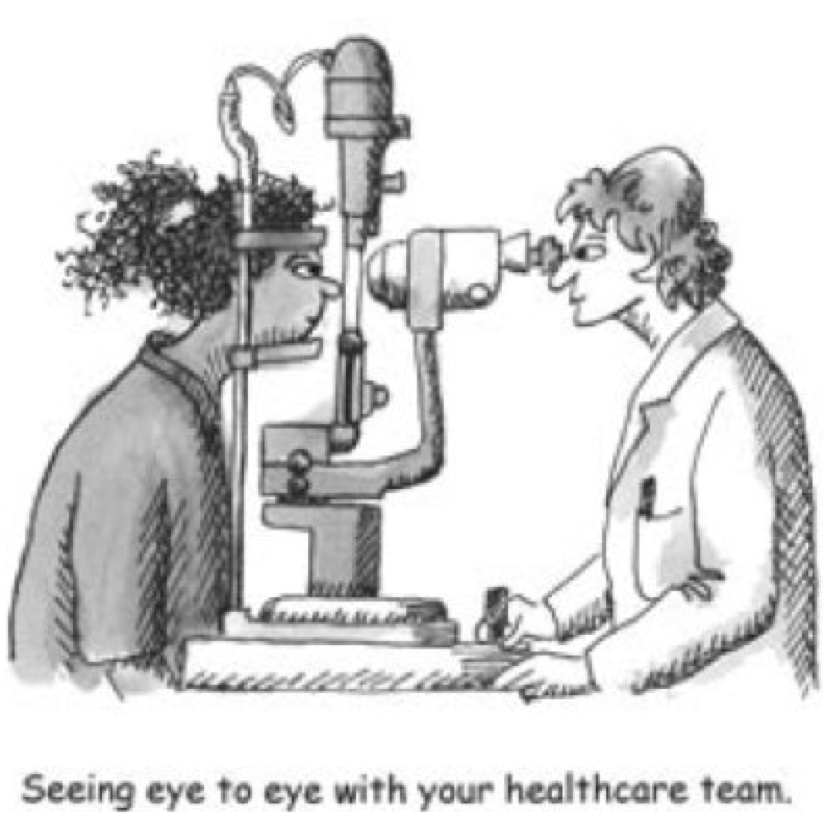 "Cartoon showing a patient having eyes examined by her ophthalmologist with the caption ""Seeing Eye to Eye with your healthcare team/."""